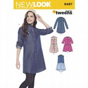 6487 New Look Pattern: Girls' Shirt Dresses and Tie Belt